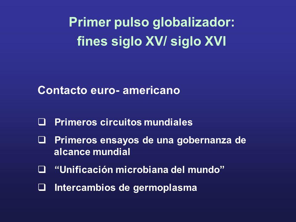 Primer pulso globalizador: fines siglo XV/ siglo XVI Contacto euro- americano Primeros circuitos mundiales Primeros ensayos de una gobernanza de alcan