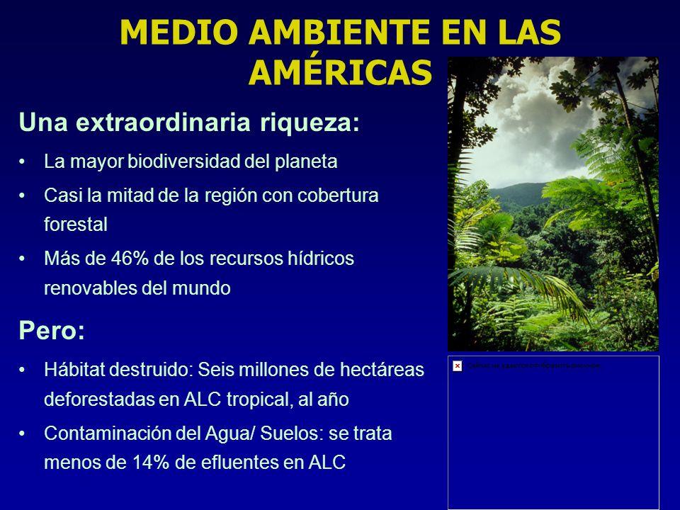 MEDIO AMBIENTE EN LAS AMÉRICAS Una extraordinaria riqueza: La mayor biodiversidad del planeta Casi la mitad de la región con cobertura forestal Más de