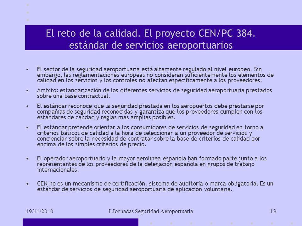 19/11/2010I Jornadas Seguridad Aeroportuaria19 El reto de la calidad.