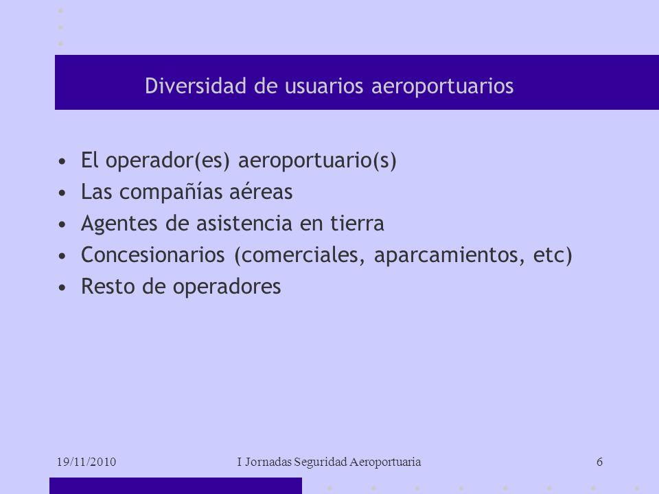 19/11/2010I Jornadas Seguridad Aeroportuaria6 Diversidad de usuarios aeroportuarios El operador(es) aeroportuario(s) Las compañías aéreas Agentes de asistencia en tierra Concesionarios (comerciales, aparcamientos, etc) Resto de operadores
