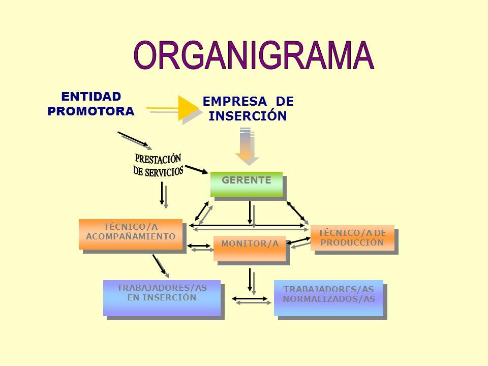 MONITOR/A TÉCNICO/A ACOMPAÑAMIENTO ENTIDAD PROMOTORA GERENTE TÉCNICO/A DE PRODUCCIÓN TRABAJADORES/AS EN INSERCIÓN TRABAJADORES/AS EN INSERCIÓN TRABAJA