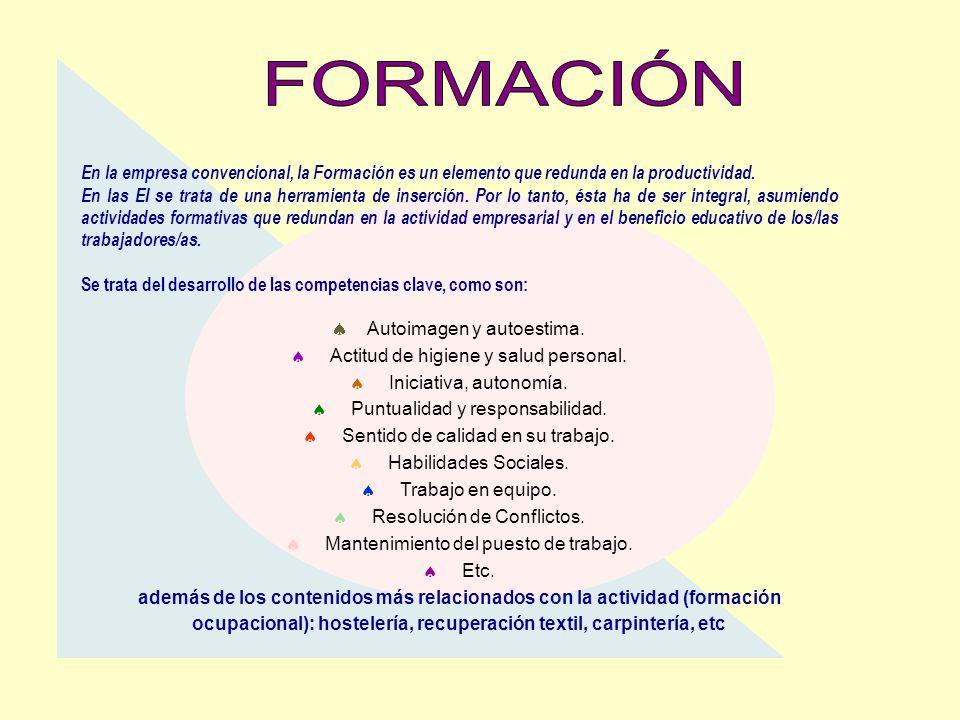 En la empresa convencional, la Formación es un elemento que redunda en la productividad. En las EI se trata de una herramienta de inserción. Por lo ta