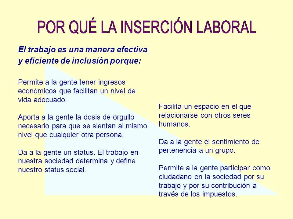 El trabajo es una manera efectiva y eficiente de inclusión porque: Permite a la gente tener ingresos económicos que facilitan un nivel de vida adecuad