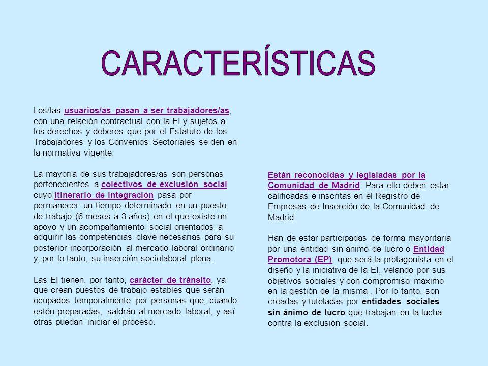 Los/las usuarios/as pasan a ser trabajadores/as, con una relación contractual con la EI y sujetos a los derechos y deberes que por el Estatuto de los