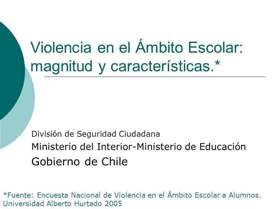 Violencia en el Ámbito Escolar: magnitud y características.* División de Seguridad Ciudadana Ministerio del Interior-Ministerio de Educación Gobierno