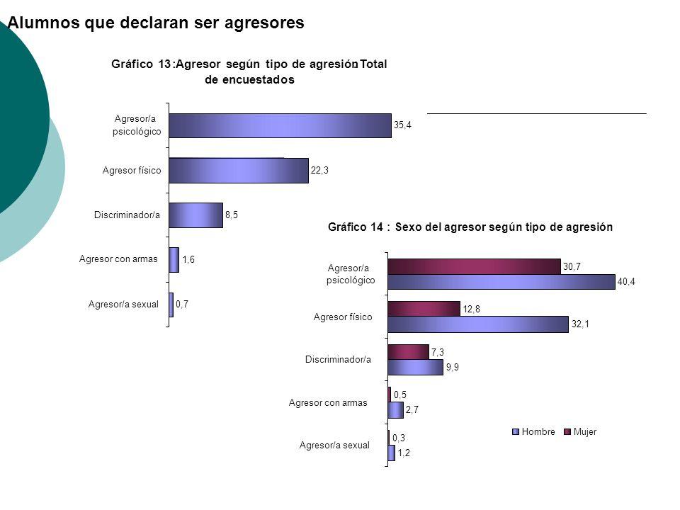 Gráfico 14:Sexo del agresor según tipo de agresión 1,2 2,7 9,9 32,1 40,4 0,3 0,5 7,3 12,8 30,7 Agresor/a sexual Agresor con armas Discriminador/a Agre