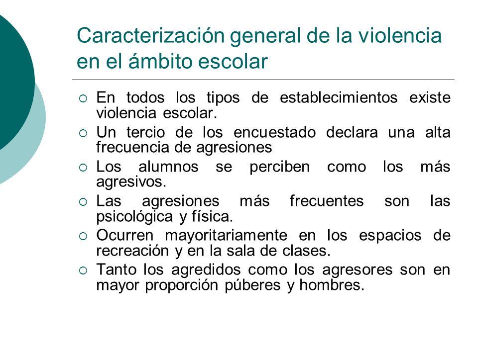 Caracterización general de la violencia en el ámbito escolar En todos los tipos de establecimientos existe violencia escolar. Un tercio de los encuest