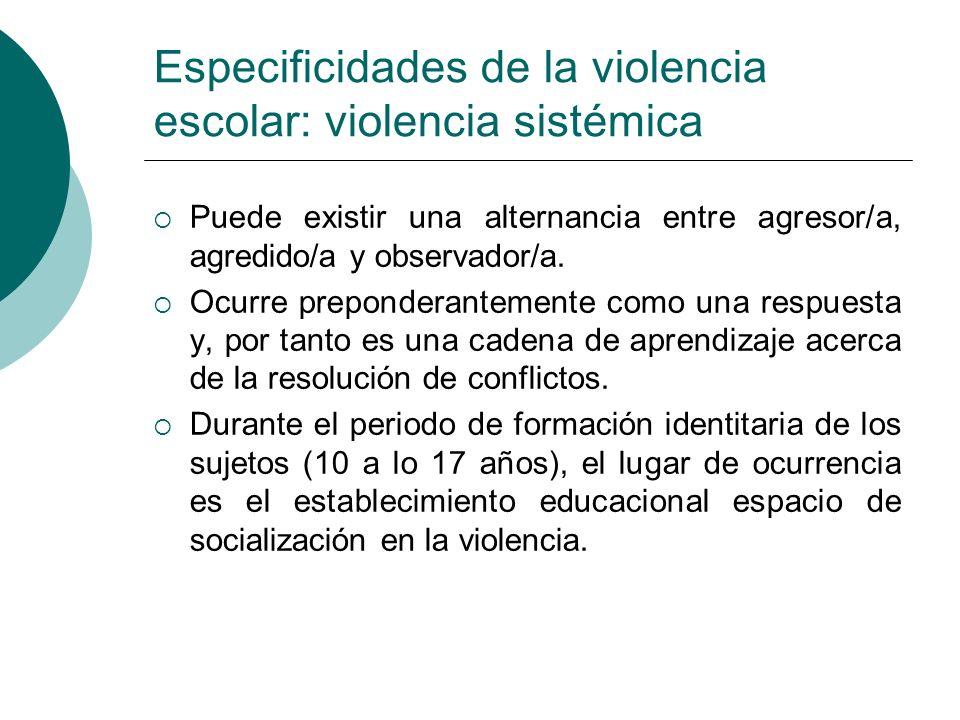 Especificidades de la violencia escolar: violencia sistémica Puede existir una alternancia entre agresor/a, agredido/a y observador/a. Ocurre preponde