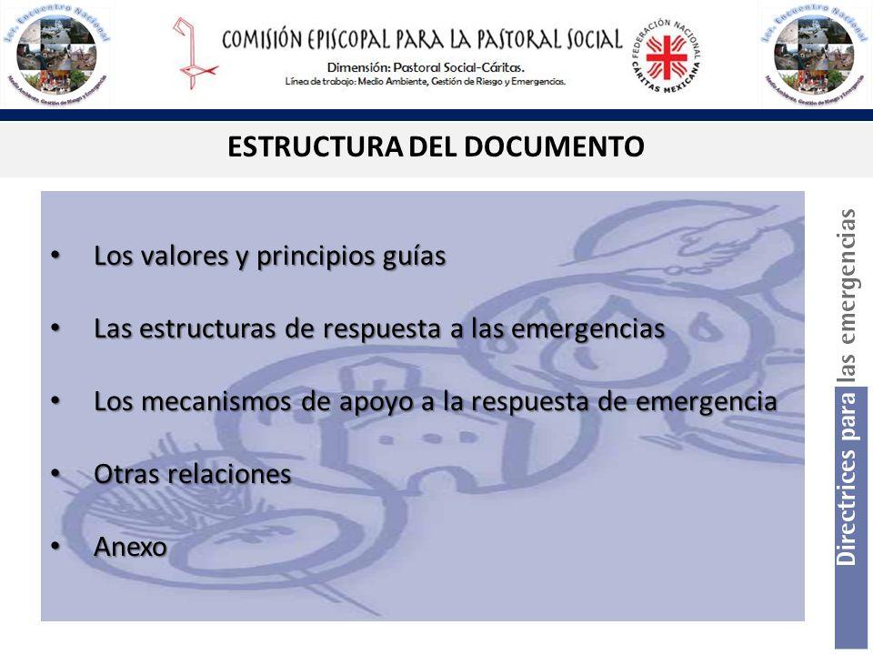ESTRUCTURA DEL DOCUMENTO Los valores y principios guías Los valores y principios guías Las estructuras de respuesta a las emergencias Las estructuras