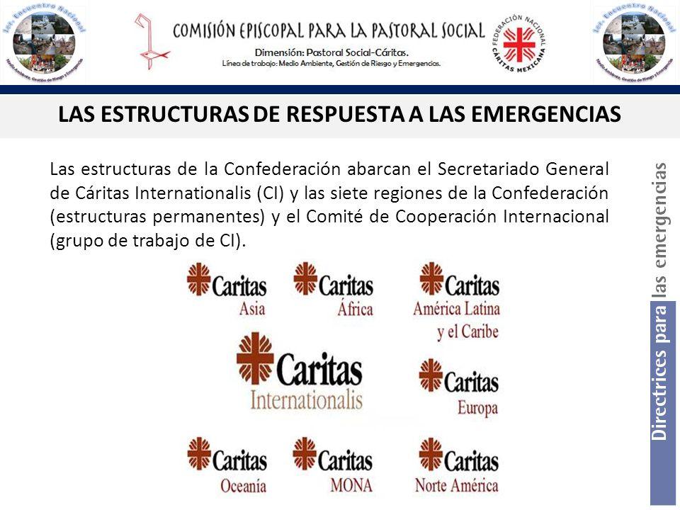 LAS ESTRUCTURAS DE RESPUESTA A LAS EMERGENCIAS Las estructuras de la Confederación abarcan el Secretariado General de Cáritas Internationalis (CI) y l