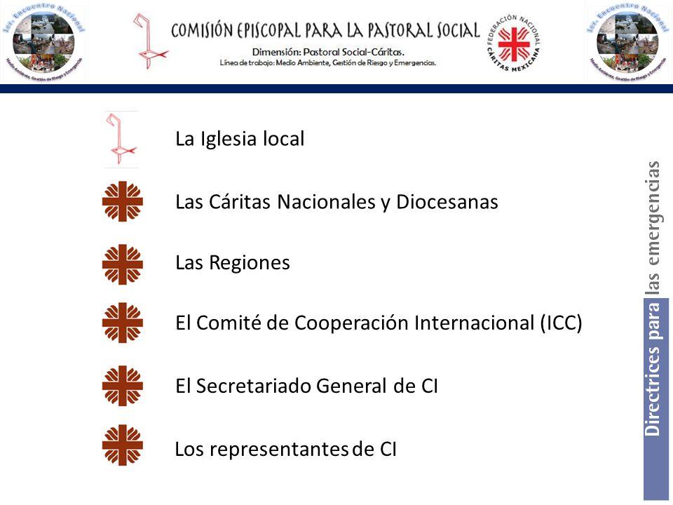 La Iglesia local Las Cáritas Nacionales y Diocesanas Las Regiones El Comité de Cooperación Internacional (ICC) El Secretariado General de CI Los repre