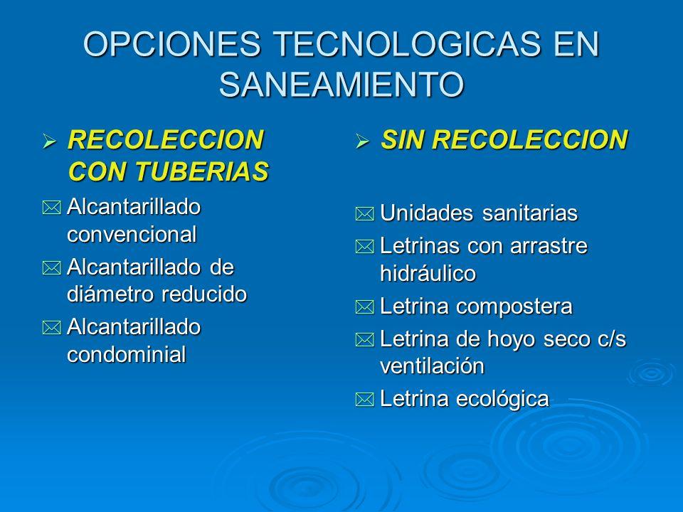 OPCIONES TECNOLOGICAS EN SANEAMIENTO RECOLECCION CON TUBERIAS RECOLECCION CON TUBERIAS * Alcantarillado convencional * Alcantarillado de diámetro redu