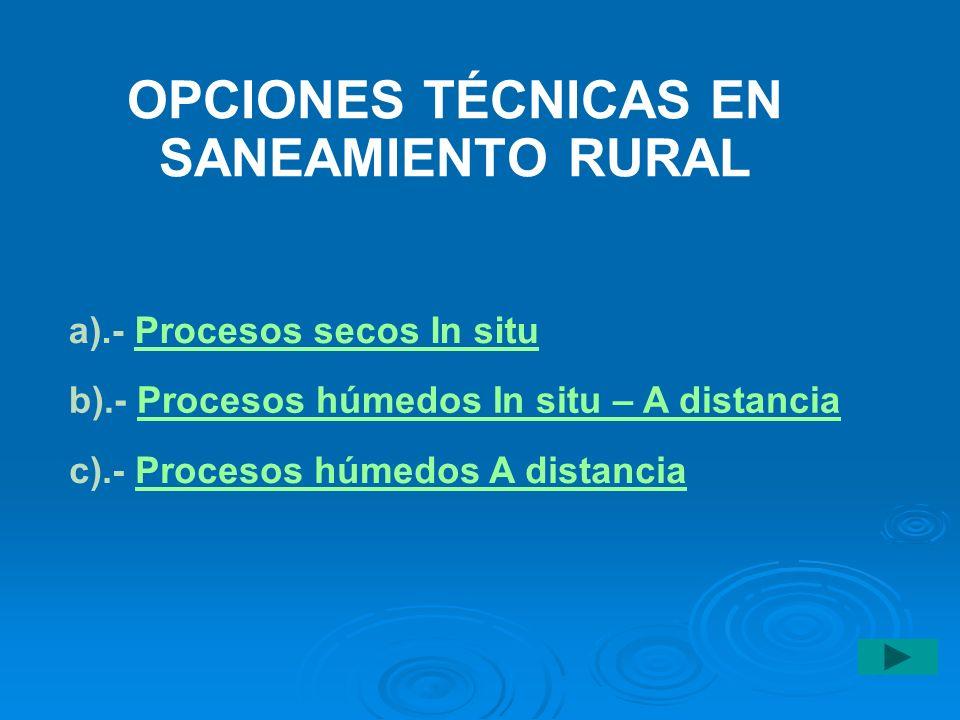 OPCIONES TÉCNICAS EN SANEAMIENTO RURAL a).- Procesos secos In situProcesos secos In situ b).- Procesos húmedos In situ – A distanciaProcesos húmedos I