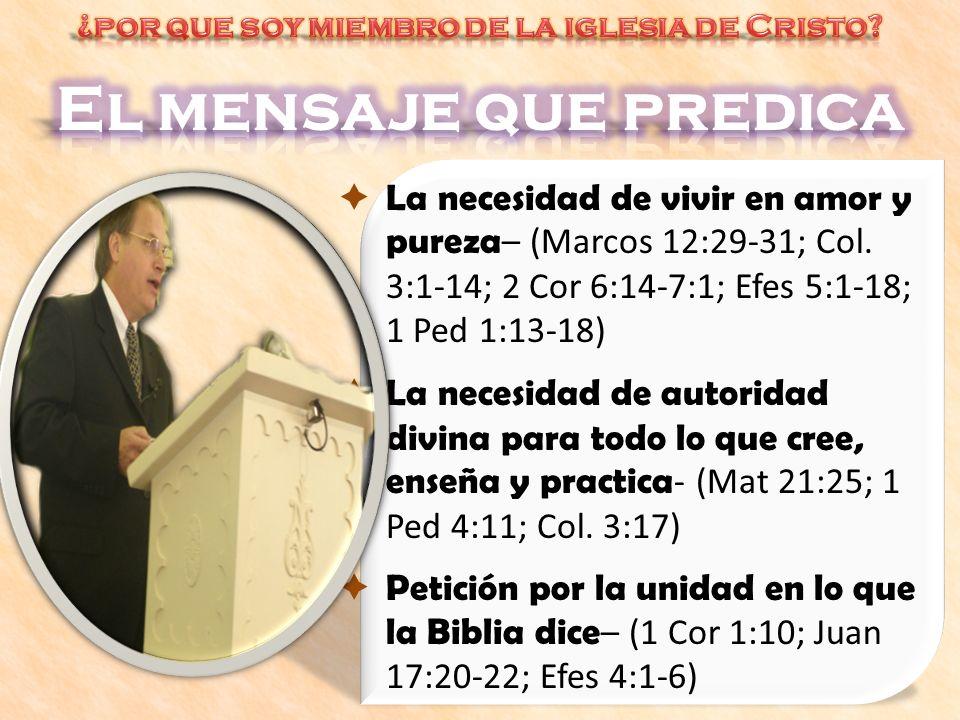 La necesidad de vivir en amor y pureza – (Marcos 12:29-31; Col. 3:1-14; 2 Cor 6:14-7:1; Efes 5:1-18; 1 Ped 1:13-18) La necesidad de autoridad divina p