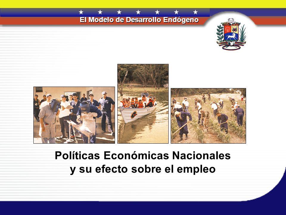 REPÚBLICA BOLIVARIANA DE VENEZUELA El Modelo de Desarrollo Endógeno REPÚBLICA BOLIVARIANA DE VENEZUELA El Modelo de Desarrollo Endógeno Efectos de las Políticas: 1999-2004 Estas políticas han logrado que la tasa de desocupación haya de 20.7% en febrero del año 2003 a 14.5% en septiembre del 2004.