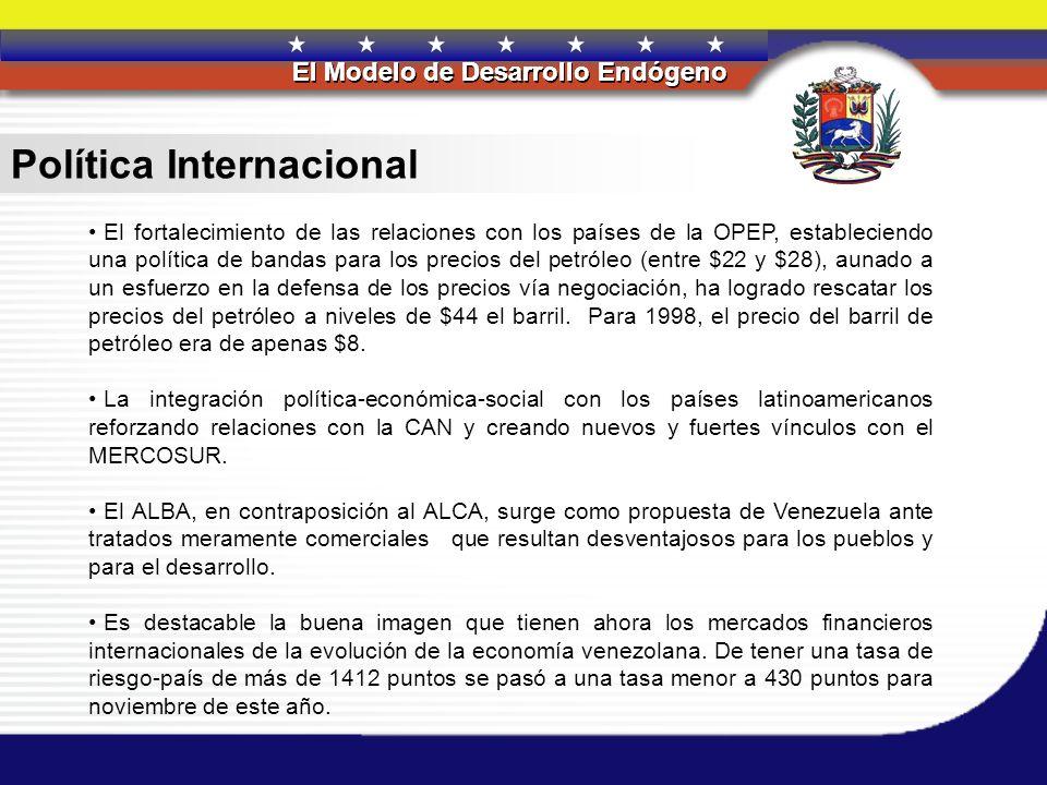 REPÚBLICA BOLIVARIANA DE VENEZUELA El Modelo de Desarrollo Endógeno REPÚBLICA BOLIVARIANA DE VENEZUELA El Modelo de Desarrollo Endógeno Política Inter