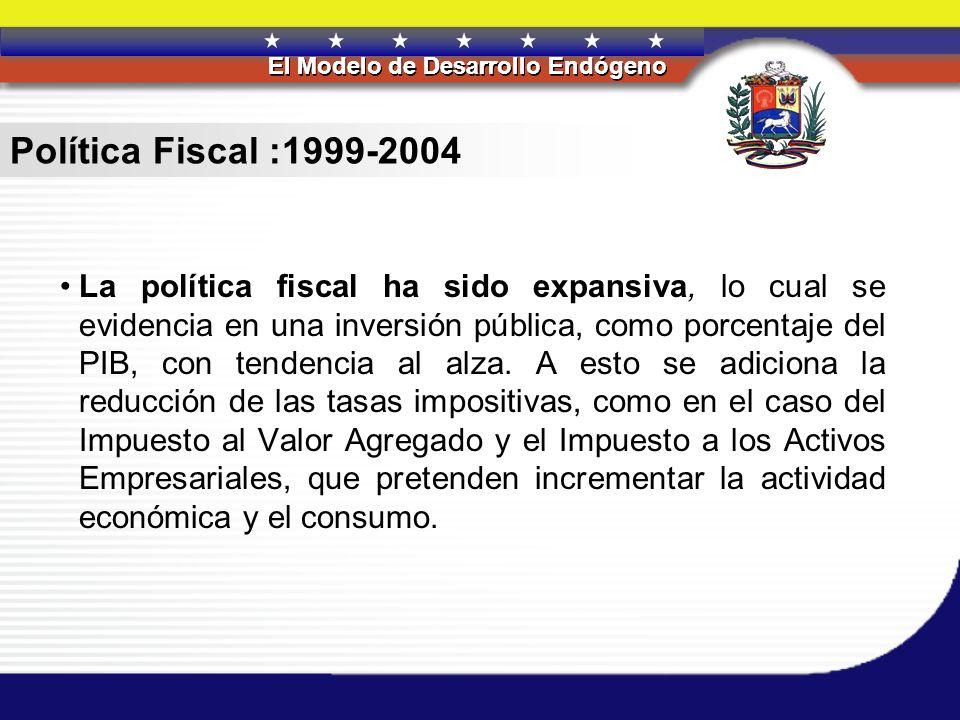 REPÚBLICA BOLIVARIANA DE VENEZUELA El Modelo de Desarrollo Endógeno REPÚBLICA BOLIVARIANA DE VENEZUELA El Modelo de Desarrollo Endógeno Política Fiscal :1999-2004