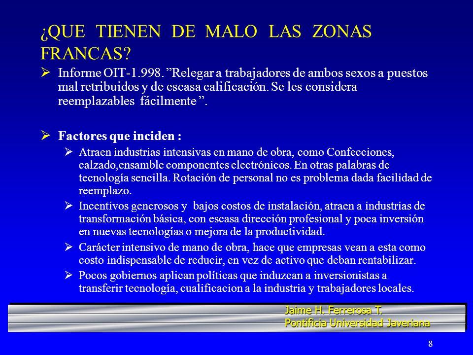 9 ¿QUE TIENEN DE MALO LAS ZONAS FRANCAS.