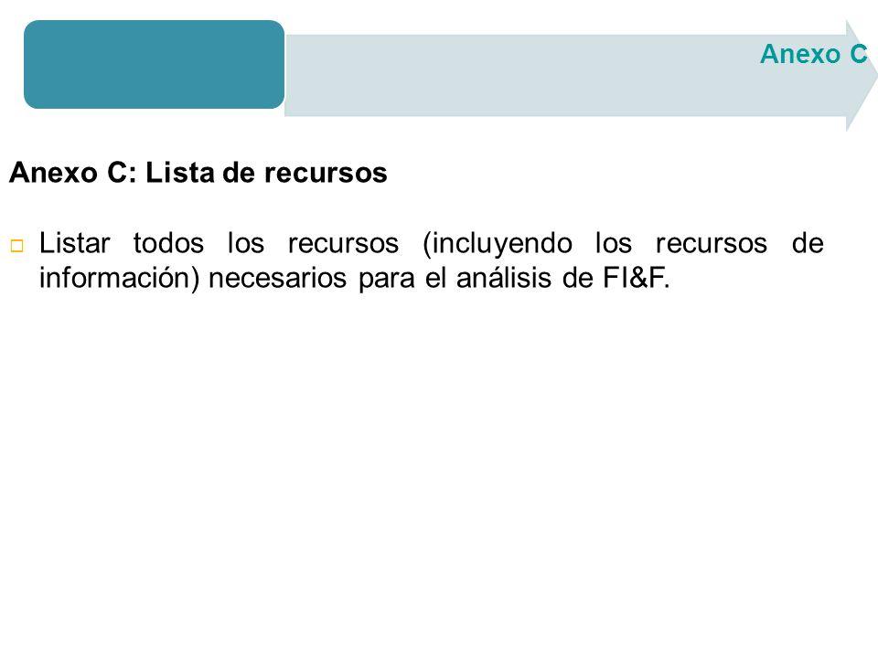 Anexo C: Lista de recursos Listar todos los recursos (incluyendo los recursos de información) necesarios para el análisis de FI&F.