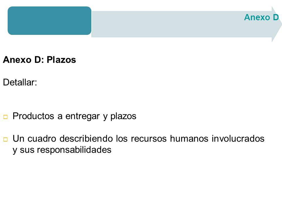 Anexo D: Plazos Detallar: Productos a entregar y plazos Un cuadro describiendo los recursos humanos involucrados y sus responsabilidades Anexo D