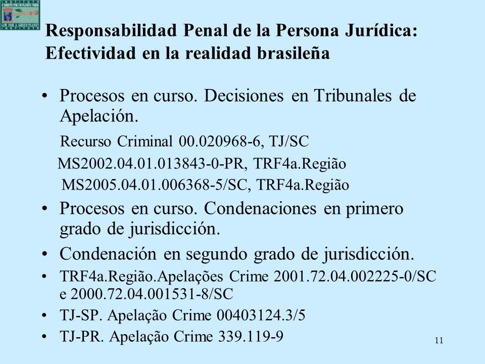 11 Responsabilidad Penal de la Persona Jurídica: Efectividad en la realidad brasileña Procesos en curso. Decisiones en Tribunales de Apelación. Recurs