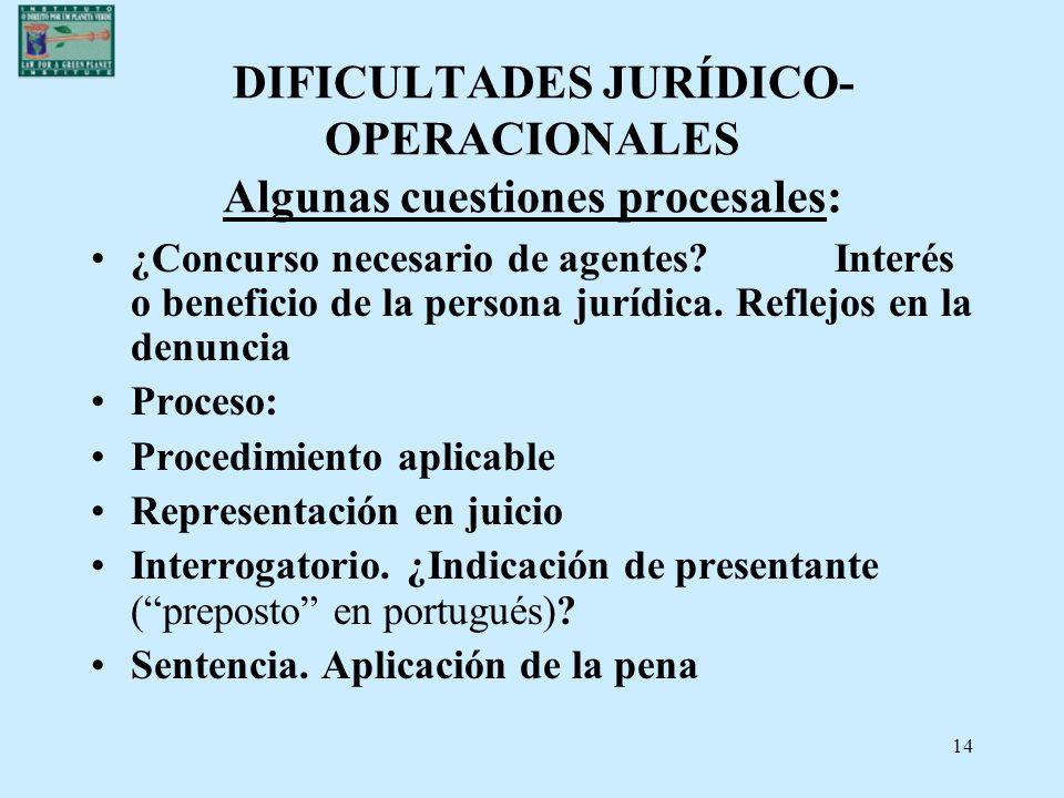 14 DIFICULTADES JURÍDICO- OPERACIONALES Algunas cuestiones procesales: ¿Concurso necesario de agentes? Interés o beneficio de la persona jurídica. Ref