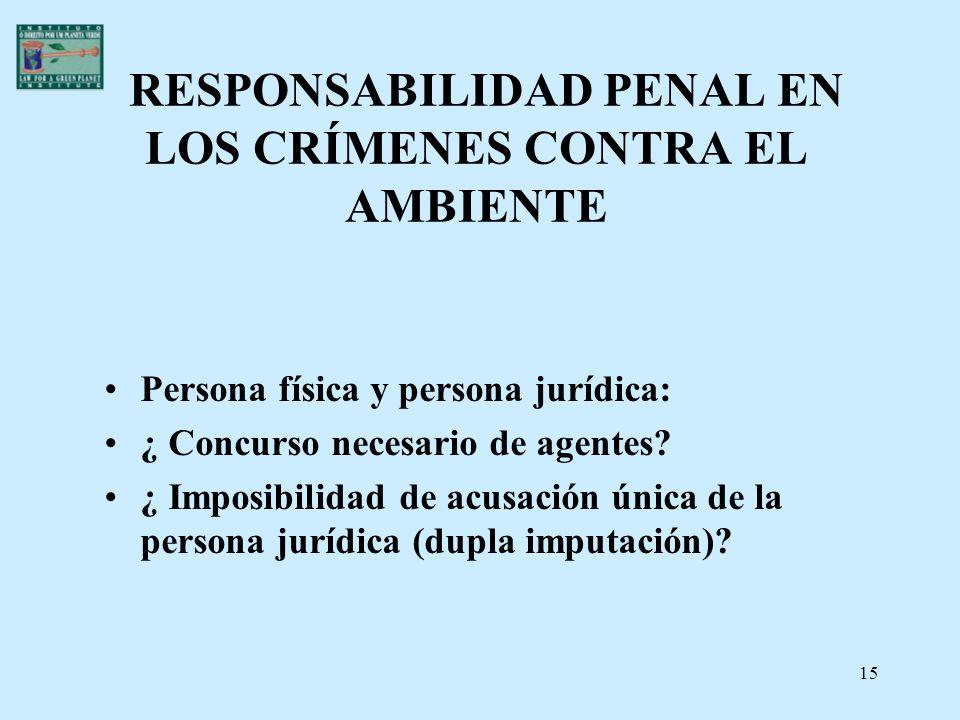 15 RESPONSABILIDAD PENAL EN LOS CRÍMENES CONTRA EL AMBIENTE Persona física y persona jurídica: ¿ Concurso necesario de agentes? ¿ Imposibilidad de acu