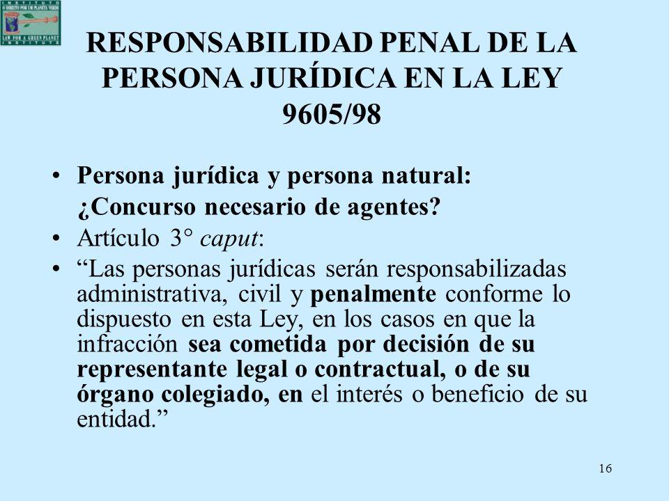 16 RESPONSABILIDAD PENAL DE LA PERSONA JURÍDICA EN LA LEY 9605/98 Persona jurídica y persona natural: ¿Concurso necesario de agentes? Artículo 3° capu