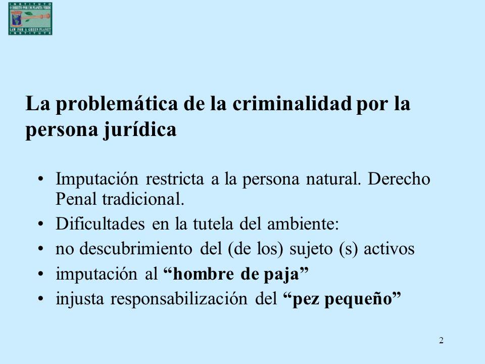 2 La problemática de la criminalidad por la persona jurídica Imputación restricta a la persona natural. Derecho Penal tradicional. Dificultades en la