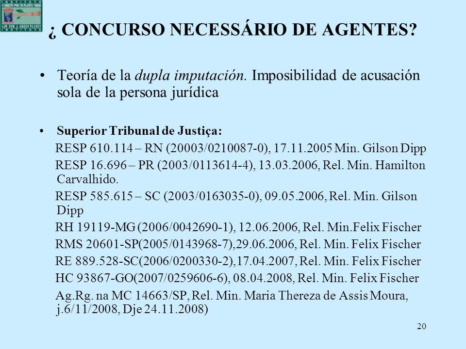 20 ¿ CONCURSO NECESSÁRIO DE AGENTES? Teoría de la dupla imputación. Imposibilidad de acusación sola de la persona jurídica Superior Tribunal de Justiç