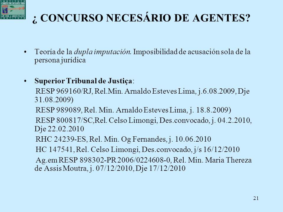 21 ¿ CONCURSO NECESÁRIO DE AGENTES? Teoría de la dupla imputación. Imposibilidad de acusación sola de la persona jurídica Superior Tribunal de Justiça