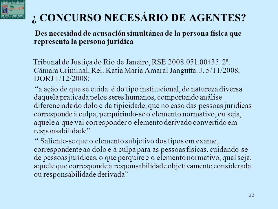 22 ¿ CONCURSO NECESÁRIO DE AGENTES? Des necesidad de acusación simultánea de la persona física que representa la persona jurídica Tribunal de Justiça