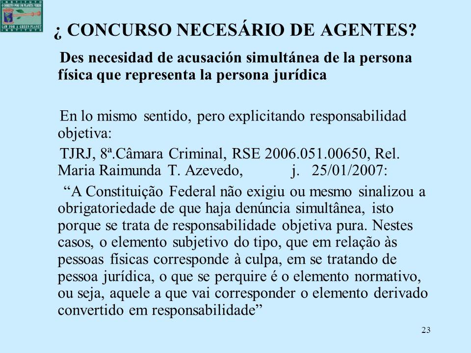 23 ¿ CONCURSO NECESÁRIO DE AGENTES? Des necesidad de acusación simultánea de la persona física que representa la persona jurídica En lo mismo sentido,