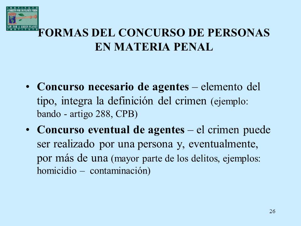 26 FORMAS DEL CONCURSO DE PERSONAS EN MATERIA PENAL Concurso necesario de agentes – elemento del tipo, integra la definición del crimen (ejemplo: band