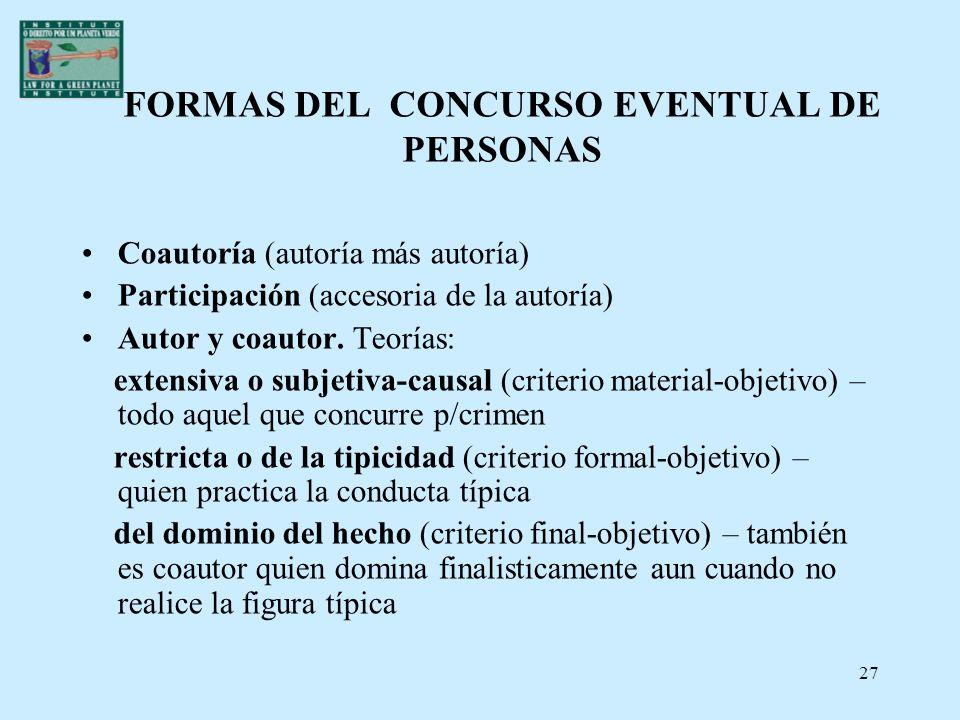 27 FORMAS DEL CONCURSO EVENTUAL DE PERSONAS Coautoría (autoría más autoría) Participación (accesoria de la autoría) Autor y coautor. Teorías: extensiv