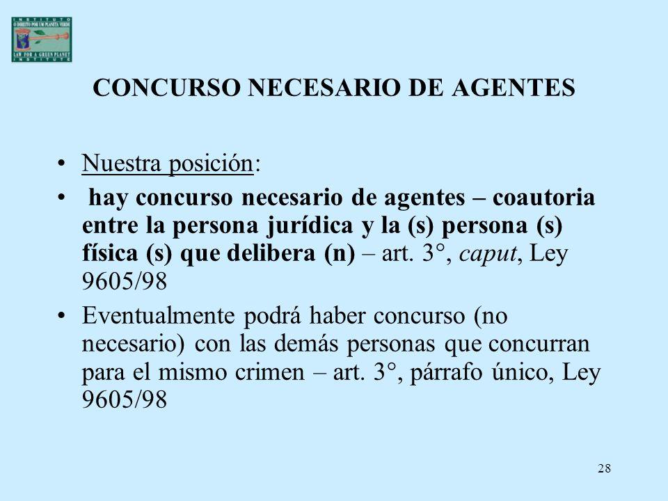 28 CONCURSO NECESARIO DE AGENTES Nuestra posición: hay concurso necesario de agentes – coautoria entre la persona jurídica y la (s) persona (s) física
