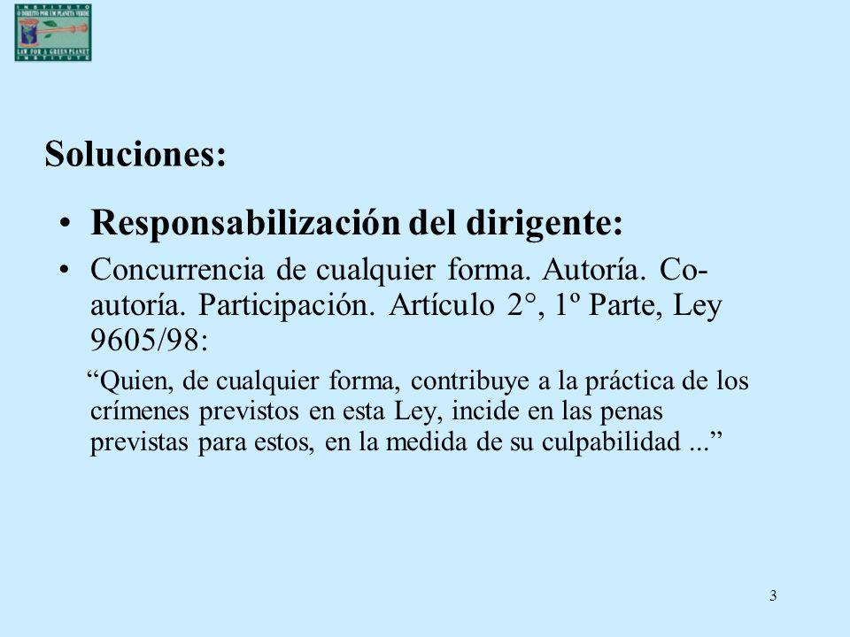 3 Soluciones: Responsabilización del dirigente: Concurrencia de cualquier forma. Autoría. Co- autoría. Participación. Artículo 2°, 1º Parte, Ley 9605/