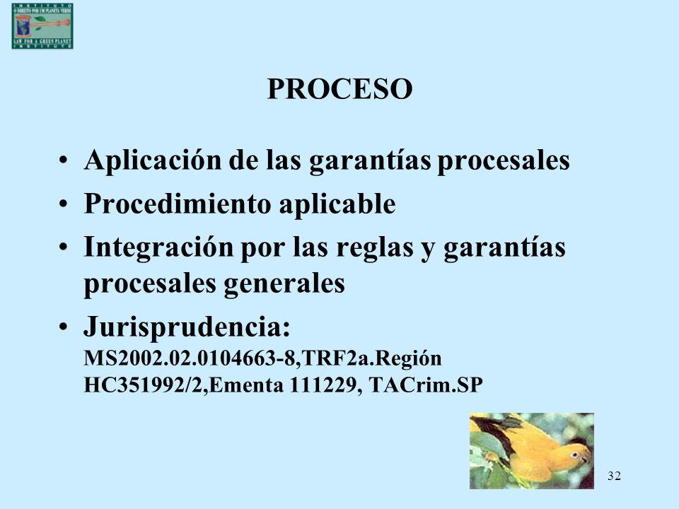 32 PROCESO Aplicación de las garantías procesales Procedimiento aplicable Integración por las reglas y garantías procesales generales Jurisprudencia: