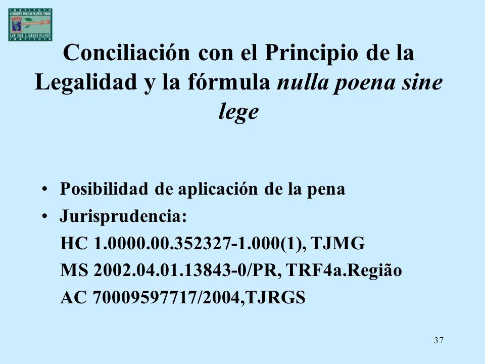 37 Conciliación con el Principio de la Legalidad y la fórmula nulla poena sine lege Posibilidad de aplicación de la pena Jurisprudencia: HC 1.0000.00.