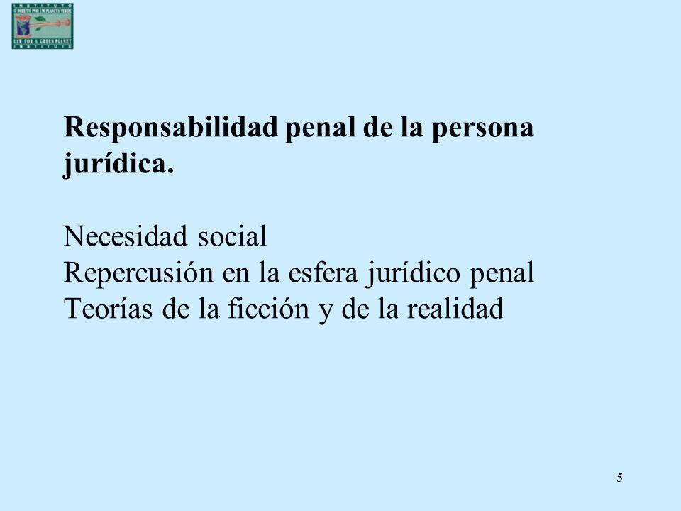 5 Responsabilidad penal de la persona jurídica. Necesidad social Repercusión en la esfera jurídico penal Teorías de la ficción y de la realidad