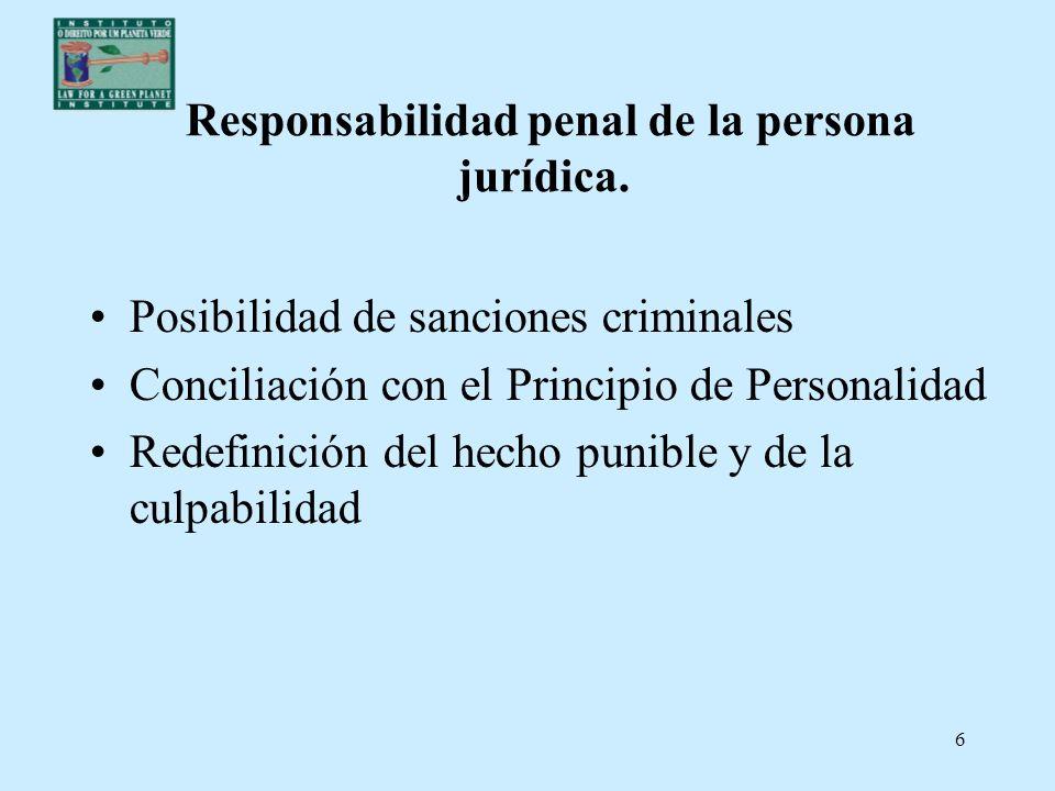6 Responsabilidad penal de la persona jurídica. Posibilidad de sanciones criminales Conciliación con el Principio de Personalidad Redefinición del hec