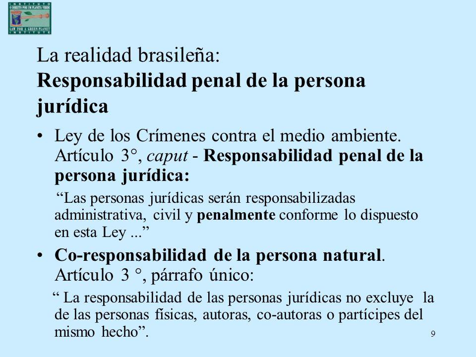 9 La realidad brasileña: Responsabilidad penal de la persona jurídica Ley de los Crímenes contra el medio ambiente. Artículo 3°, caput - Responsabilid