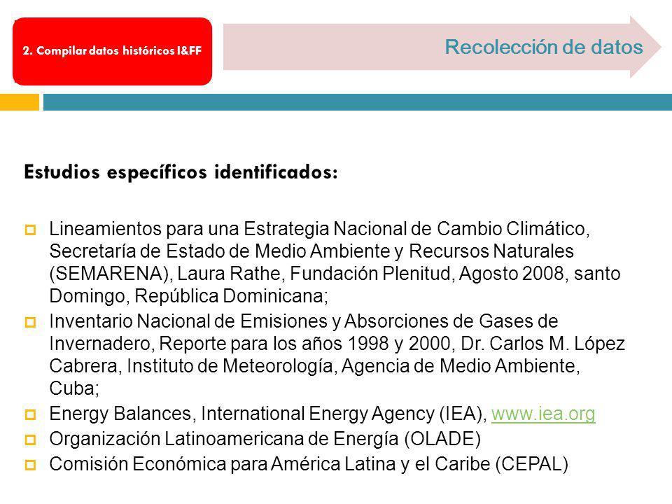Estudios específicos identificados: Lineamientos para una Estrategia Nacional de Cambio Climático, Secretaría de Estado de Medio Ambiente y Recursos N