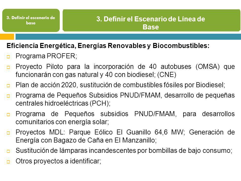 3. Definir el Escenario de Línea de Base 3. Definir el escenario de base Eficiencia Energética, Energías Renovables y Biocombustibles: Programa PROFER