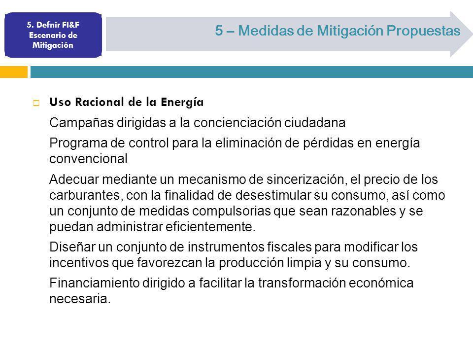 5. Defnir FI&F Escenario de Mitigación 5 – Medidas de Mitigación Propuestas Uso Racional de la Energía Campañas dirigidas a la concienciación ciudadan