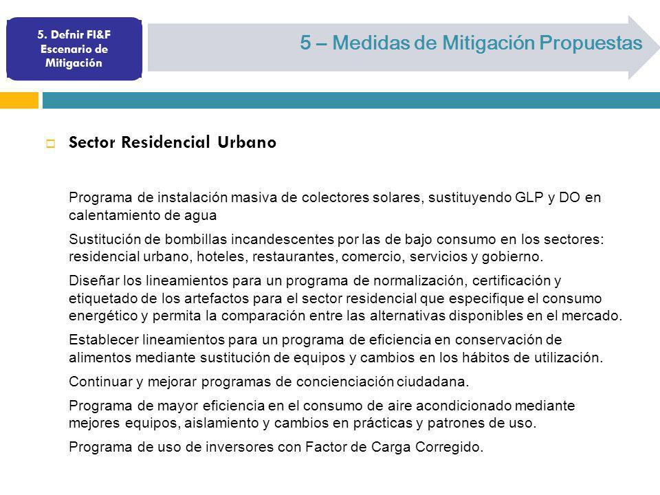 5. Defnir FI&F Escenario de Mitigación 5 – Medidas de Mitigación Propuestas Sector Residencial Urbano Programa de instalación masiva de colectores sol