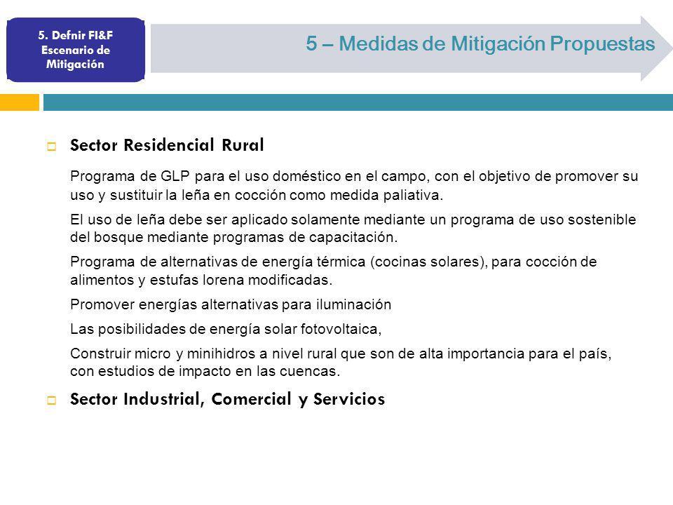 5. Defnir FI&F Escenario de Mitigación 5 – Medidas de Mitigación Propuestas Sector Residencial Rural Programa de GLP para el uso doméstico en el campo