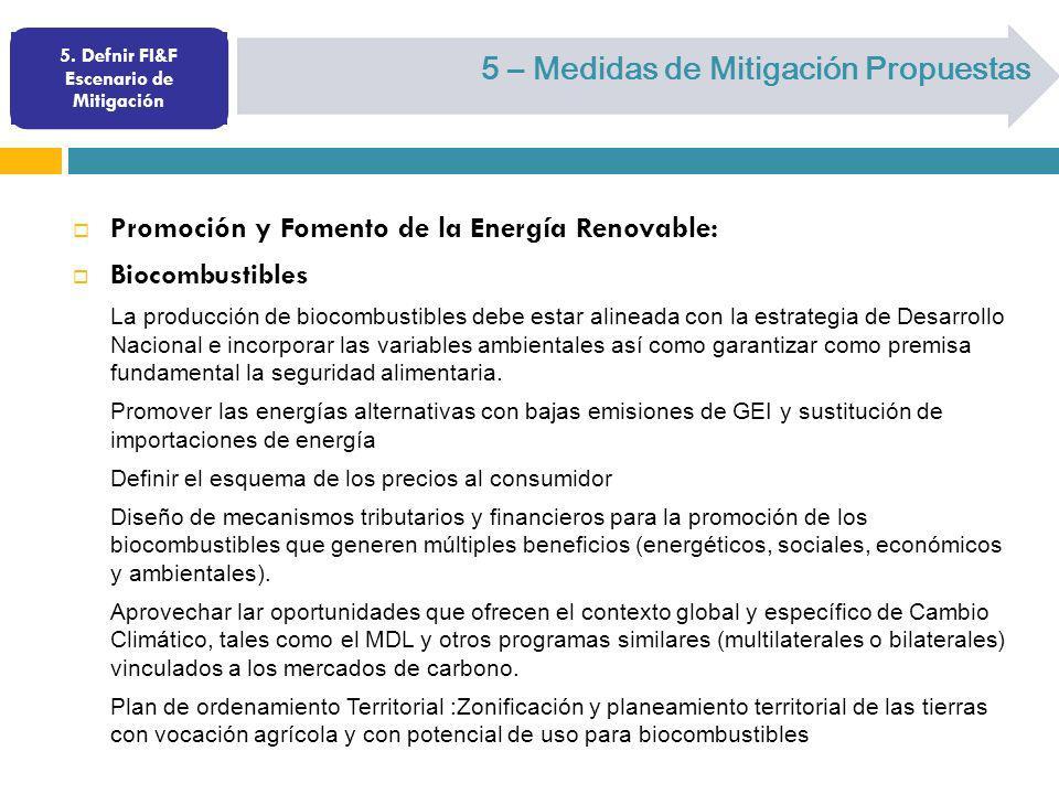 5. Defnir FI&F Escenario de Mitigación 5 – Medidas de Mitigación Propuestas Promoción y Fomento de la Energía Renovable: Biocombustibles La producción