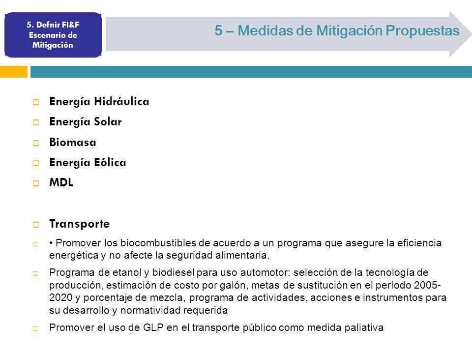 5. Defnir FI&F Escenario de Mitigación 5 – Medidas de Mitigación Propuestas Energía Hidráulica Energía Solar Biomasa Energía Eólica MDL Transporte Pro