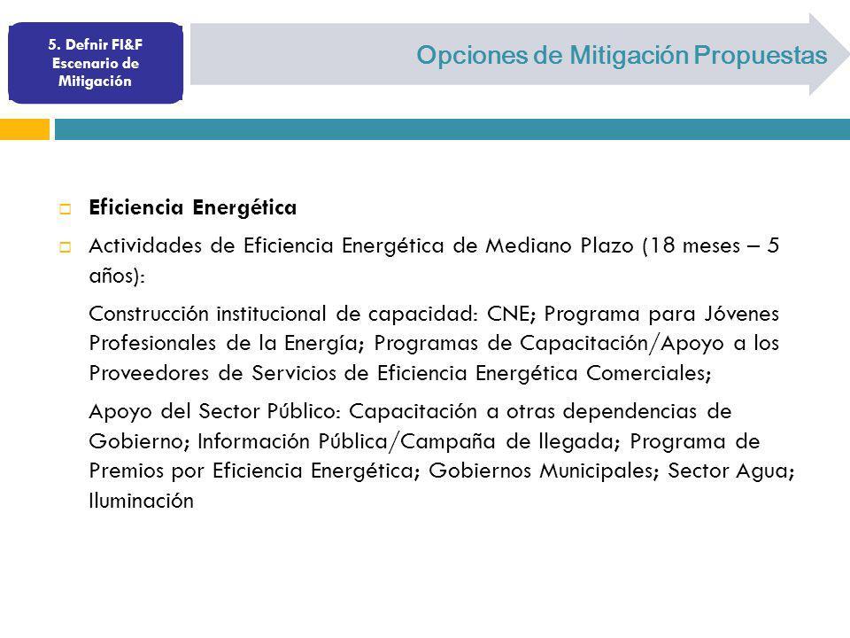 Opciones de Mitigación Propuestas Eficiencia Energética Actividades de Eficiencia Energética de Mediano Plazo (18 meses – 5 años): Construcción instit